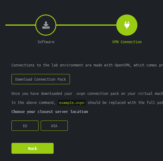A screenshot of HacktheBox Starting Point tutorial which shows the option to download the connection pack.